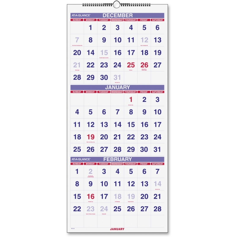 At-A-Glance At-A-Glance 3 Months Reference Wall Calendar PM11-28 AAGPM1128