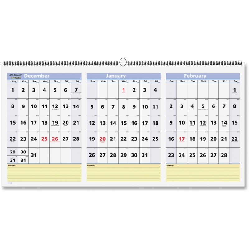 At-A-Glance At-A-Glance 3 Months QuickNotes Horizontal Wall Calendar PM1528 AAGPM1528
