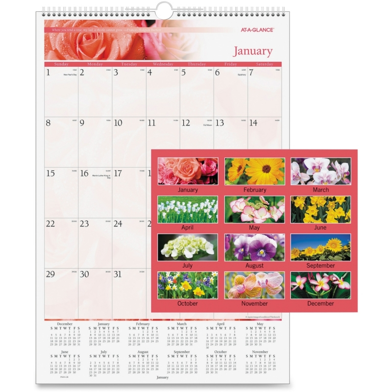 At-A-Glance Floral Monthly Wall Calendar PM44-28 AAGPM4428