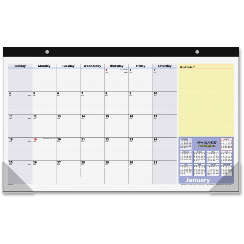 At-A-Glance QuickNotes 13-Months Desk Pad Calendar SK710-00 AAGSK71000