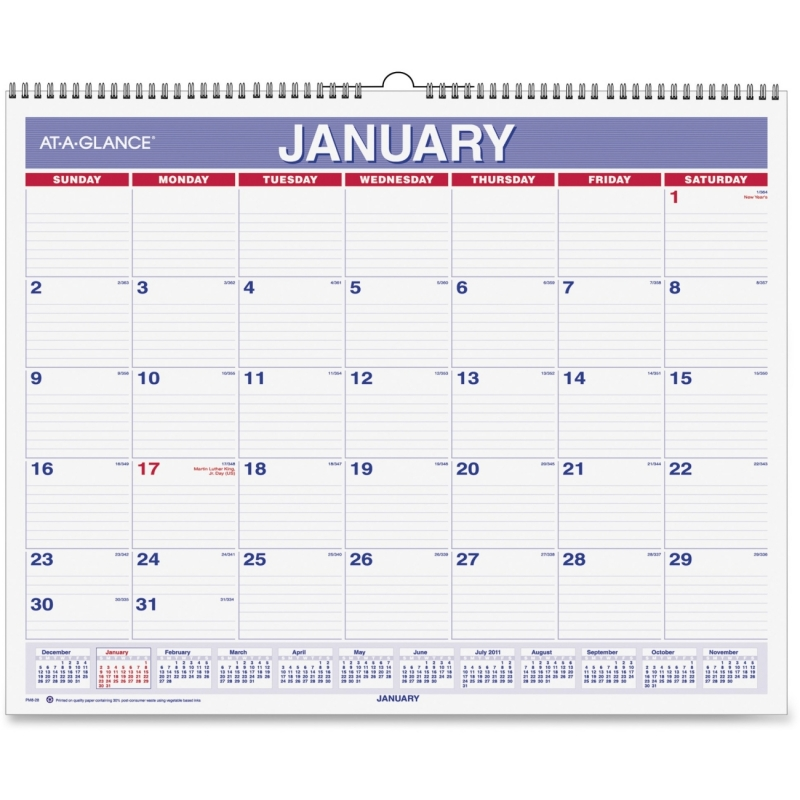 At-A-Glance At-A-Glance Recycled Wall Calendar PM828 AAGPM828