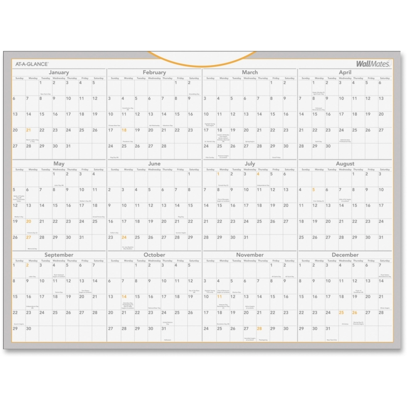 At-A-Glance At-A-Glance Wallmates Dry-Erase Yearly Wall Calendar AW506028 AAGAW506028