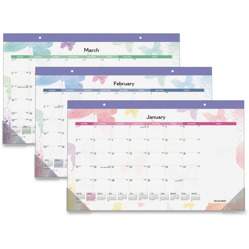 Day Runner Day Runner Watercolors Compact Monthly Desk Pad Calendar sk91705 AAGSK91705