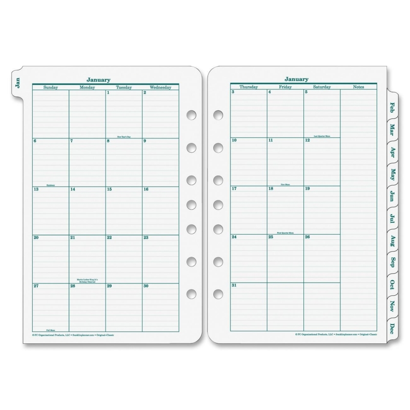 Franklin Covey Original Classic Monthly Tab 35399 FDP35399