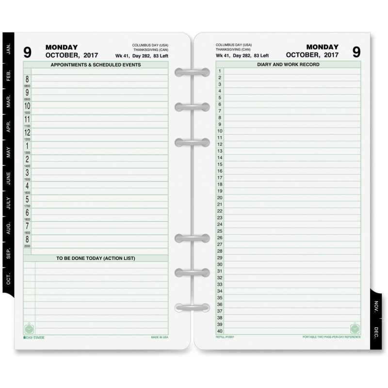 Day-Timer 2 Pages Daily Planner Refill 10801 DTM10801