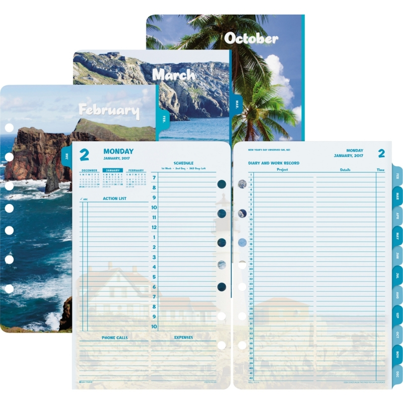 Day-Timer Coastlines 2 Pages Per Day Daily Refill 13180 DTM13180
