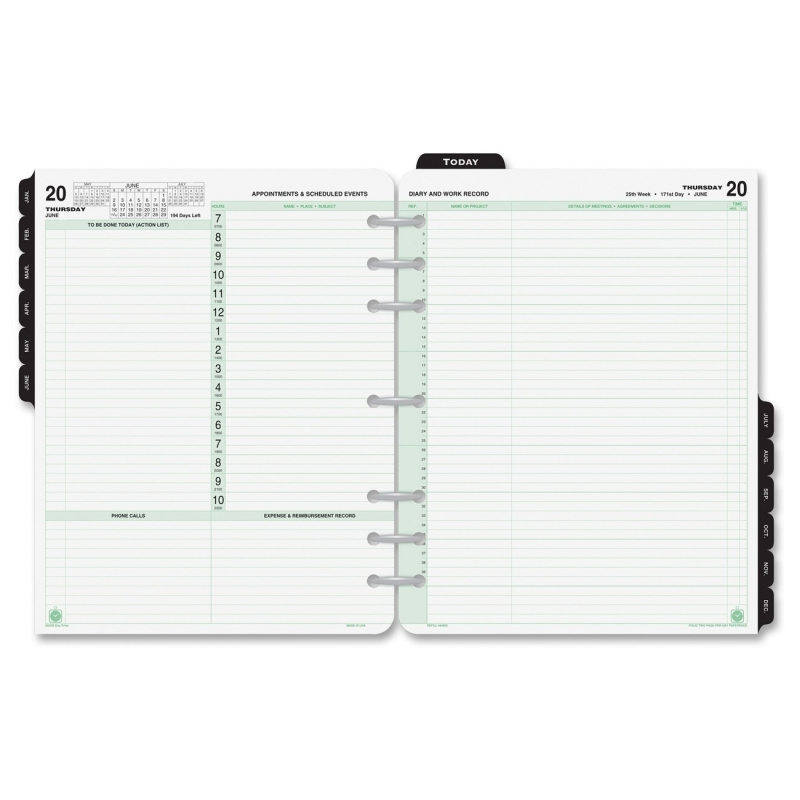 Day-Timer 2 Pages Daily Calendar Refill Pages 94800 DTM94800