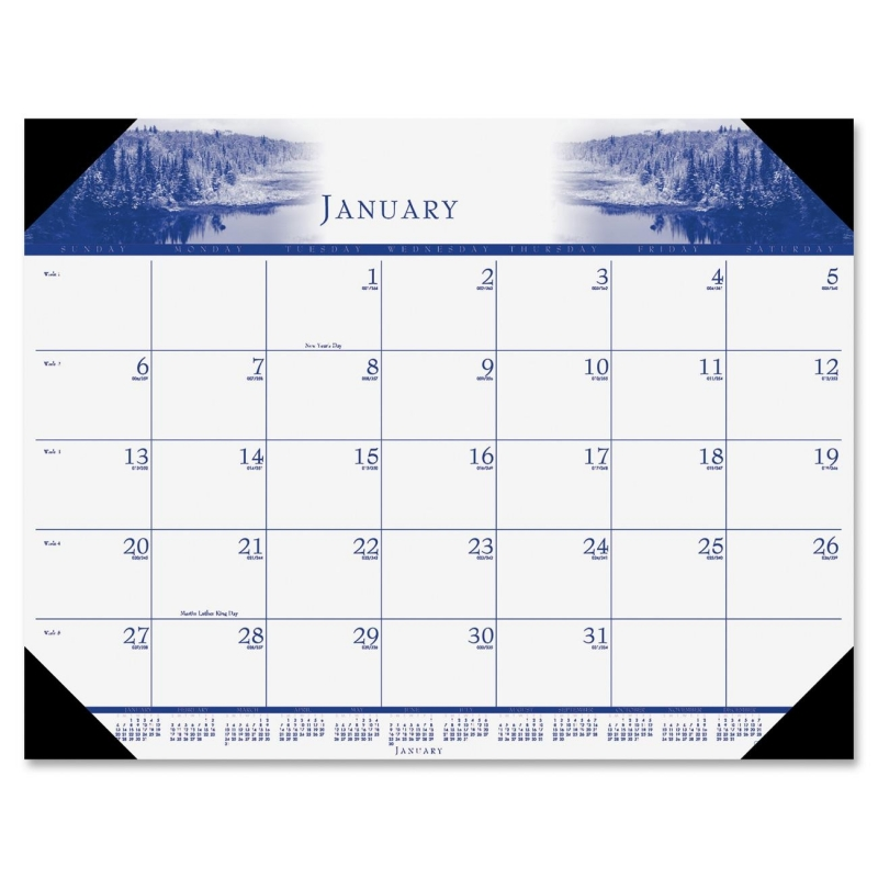 House of Doolittle One-Color Photo Desk Pad Calendar 140HD HOD140HD