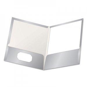 Oxford High Gloss Laminated Paperboard Folder, 100-Sheet Capacity, Gray, 25/Box OXF51705 51705EE