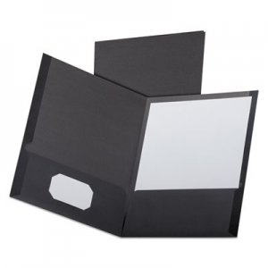 Oxford Linen Finish Twin Pocket Folders, Letter, Black,25/Box OXF53406 53406EE
