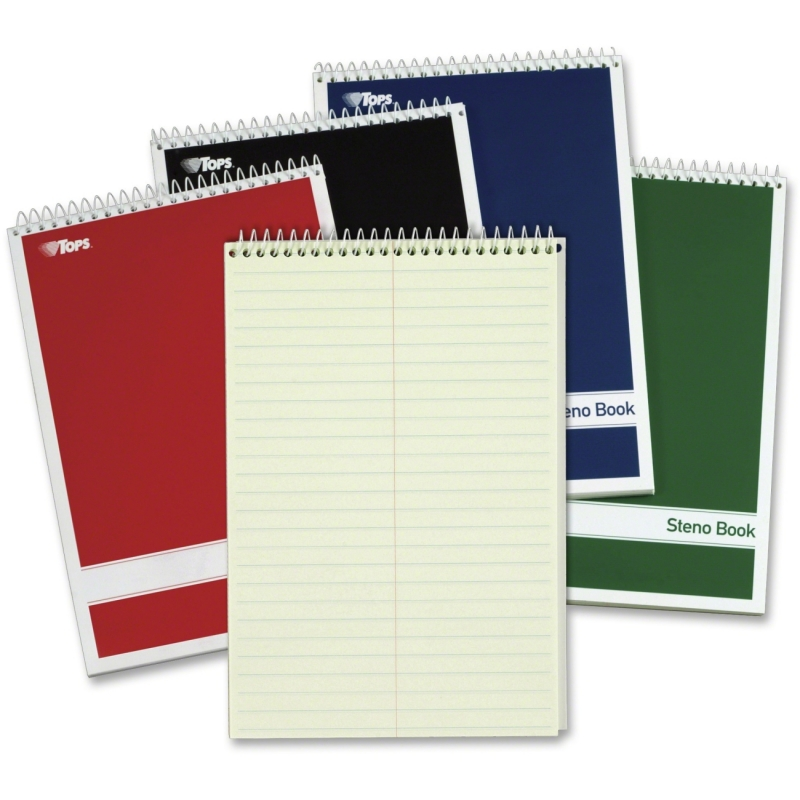 TOPS Steno Book, Gregg Rule, Greentint, Assorted Covers, 80 Sheet/Book, 4 Book/Pack 80221 TOP80221