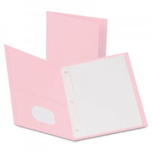 "Oxford Twin-Pocket Folders with 3 Fasteners, Letter, 1/2"" Capacity, Pink,25/Box OXF57768 57768EE"