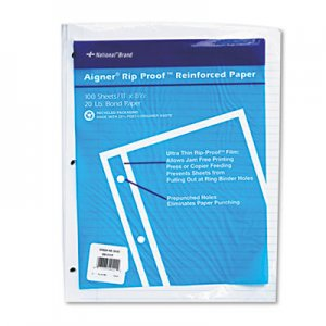 National Rip Proof Reinforced Filler Paper, 3-Hole, 8.5 x 11, Narrow Rule, 100/Pack RED20122 20122