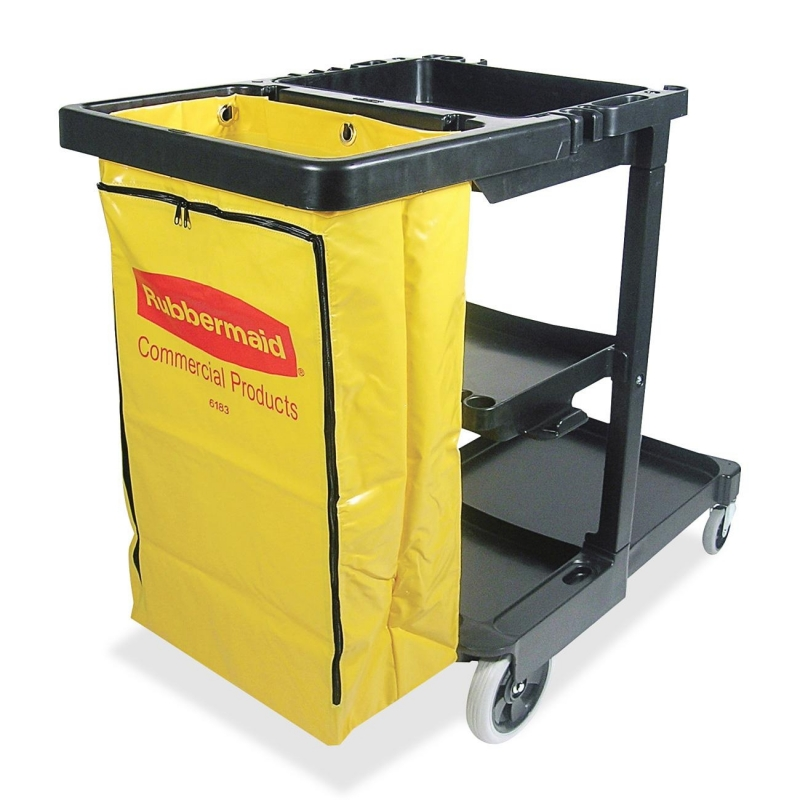 Rubbermaid Janitor Cart With Zipper Yellow Vinyl Bag 617388 RCP617388