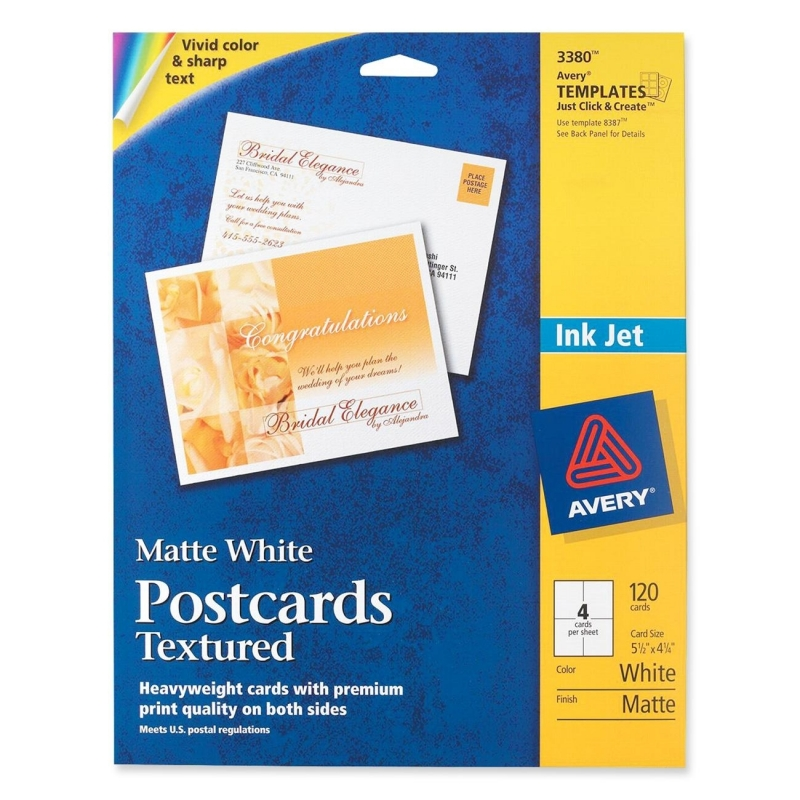 Avery Ink Jet Textured Postcards 3380 AVE03380
