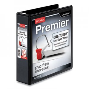 "Cardinal Premier Easy Open ClearVue Locking Slant-D Ring Binder, 3 Rings, 2"" Capacity, 11 x 8.5, Black CRD10321"
