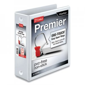 "Cardinal Premier Easy Open ClearVue Locking Round Ring Binder, 3 Rings, 3"" Capacity, 11 x 8.5, White CRD11130 11130CB"