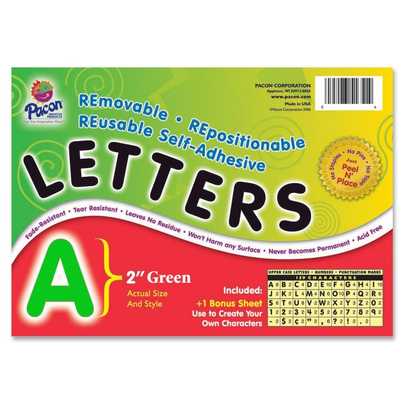 Pacon Colored Self-Adhesive Removable Letters 51654 PAC51654