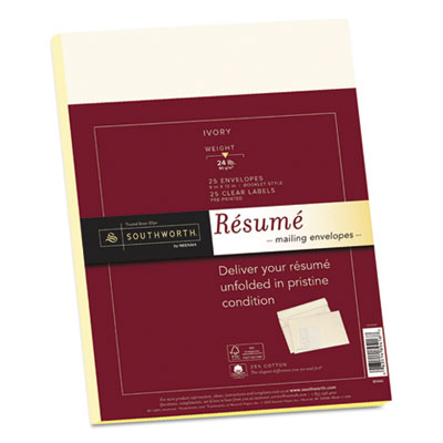 Southworth 25% Cotton Resume Envelopes, Ivory, 24lb, 9 x 12, Wove, 25/Box SOURF4Q RF#4Q