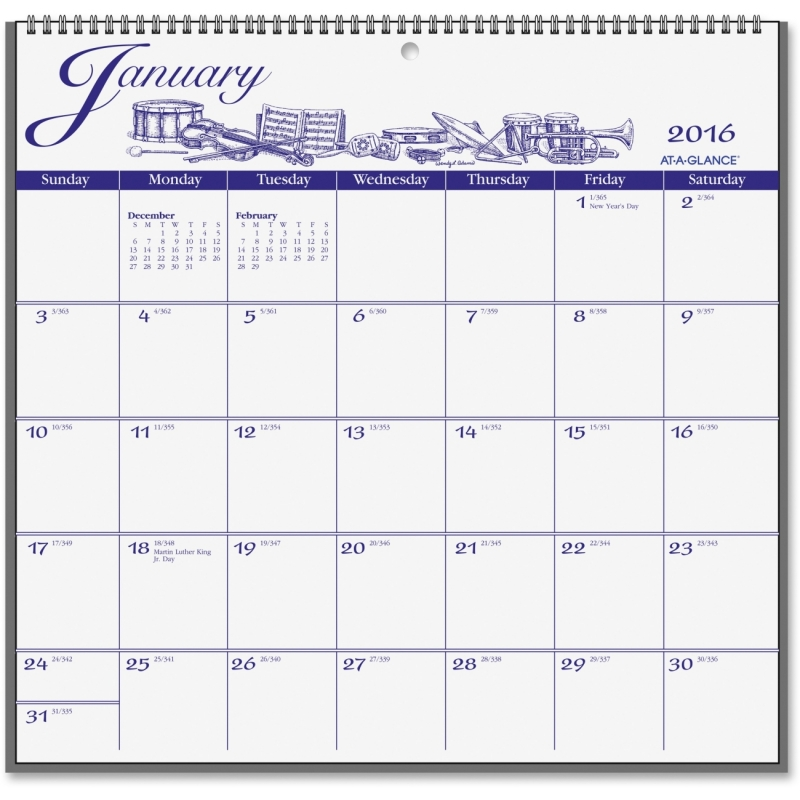 At-A-Glance At-A-Glance Illustrated Monthly Wall Calendar G1000-17 AAGG100017