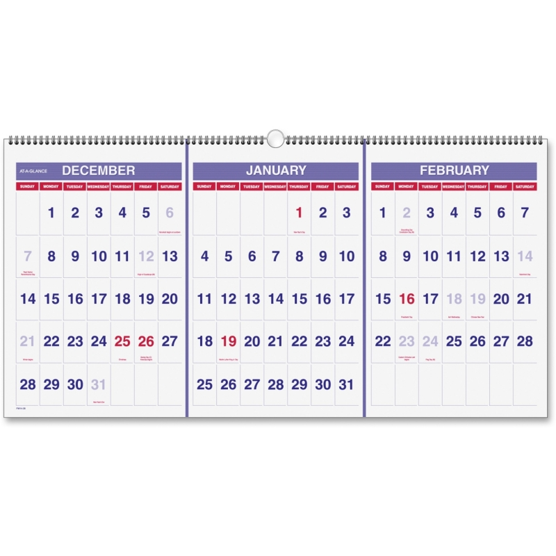 At-A-Glance At-A-Glance 3-Months Horizontal Wall Calendar PM14-28 AAGPM1428