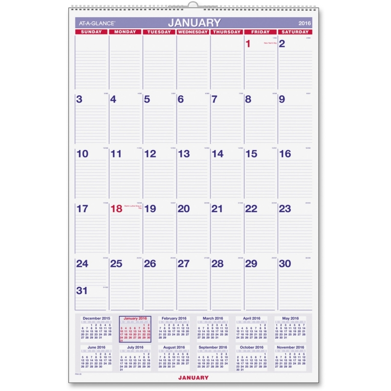 At-A-Glance At-A-Glance Wall Calendar with Hanger PM4-28 AAGPM428