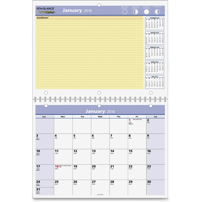 At-A-Glance At-A-Glance QuickNotes 12-Months Wall Calendar PM50-28 AAGPM5028