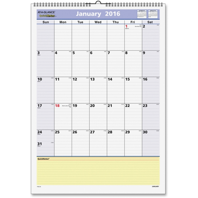At-A-Glance At-A-Glance QuickNotes Wall Calendar PM52-28 AAGPM5228