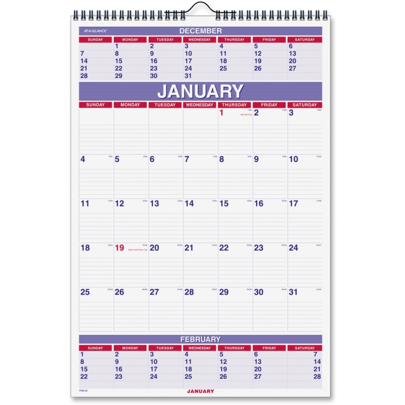 At-A-Glance At-A-Glance 3-Months Wall Calendar PM6-28 AAGPM628