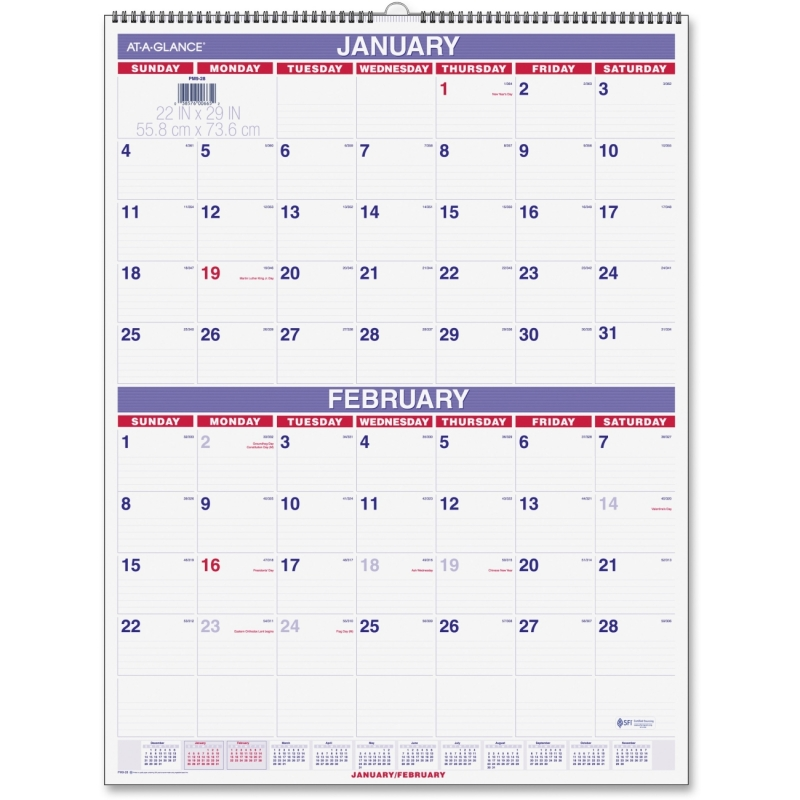 At-A-Glance At-A-Glance Two Month Per Page Wall Calendar PM9-28 AAGPM928