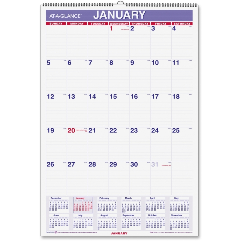 At-A-Glance At-A-Glance Laminated Wall Calendar PMLM03-28 AAGPMLM0328