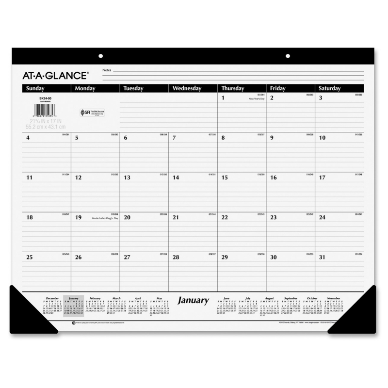 At-A-Glance At-A-Glance Nonrefillable 12-Months Desk Pad Calendar SK30-00 AAGSK3000