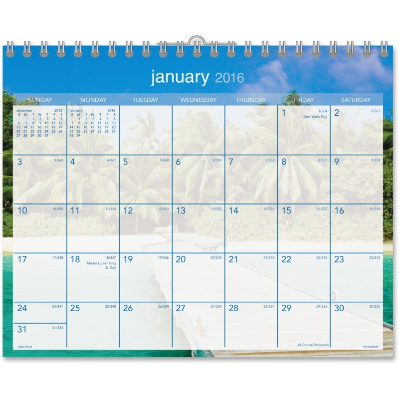 At-A-Glance At-A-Glance Tropical Escape Wall Calendar DMWTE828 AAGDMWTE828
