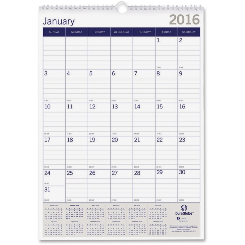 Blueline Blueline DuraGlobe Monthly Wall Calendar C171203 REDC171203