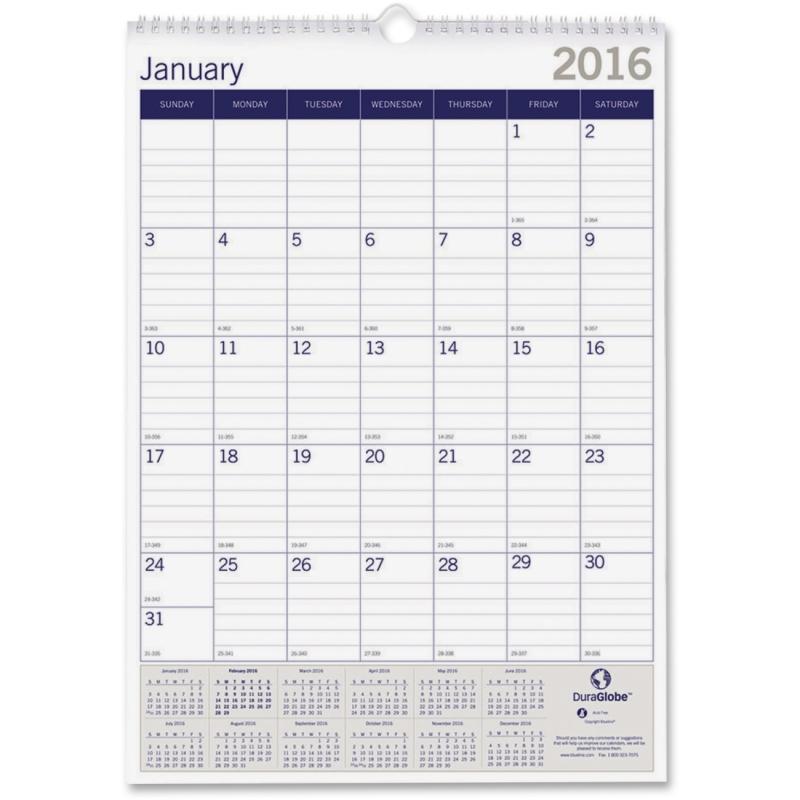 Blueline Blueline DuraGlobe Monthly Wall Calendar C171203 REDC171203