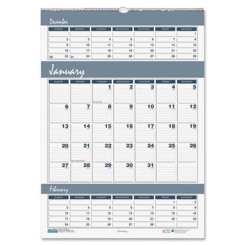 House of Doolittle Bar Harbor Triple Month Wall Calendar 343 HOD343