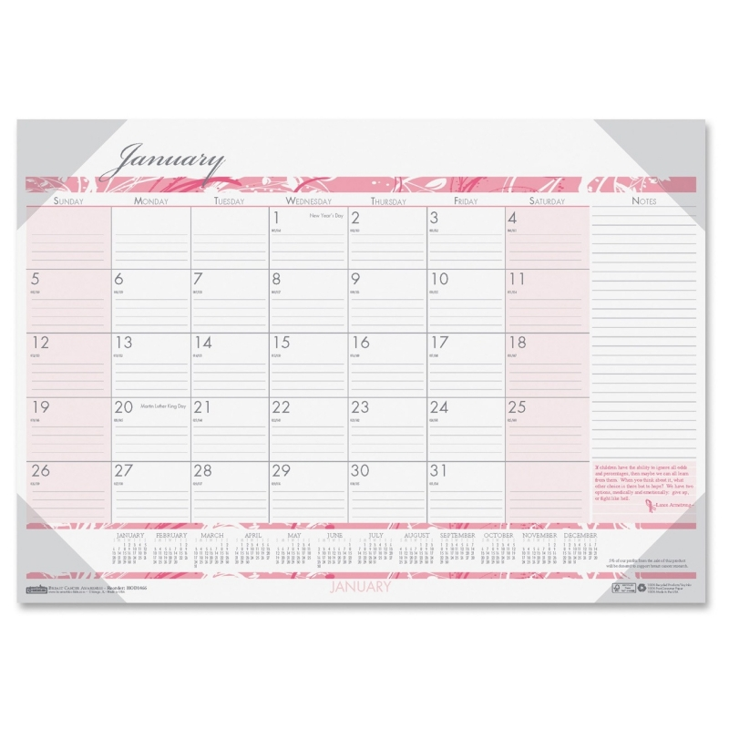 House of Doolittle Breast Cancer Awareness Compact Desk Pad Calendar 1466 HOD1466