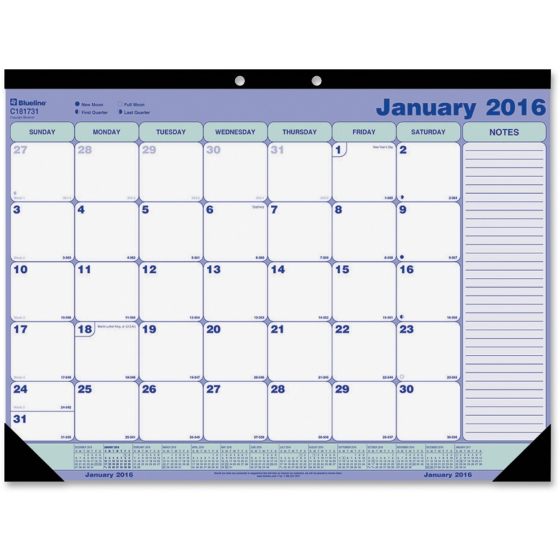 Blueline Blueline Monthly Desk Pad Calendar C181731 REDC181731