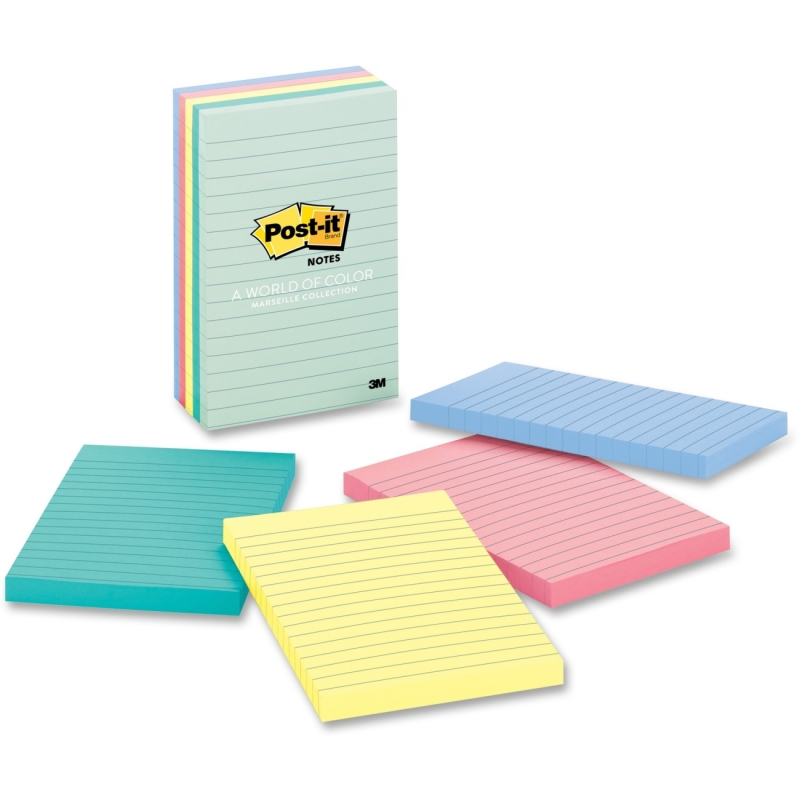 Post-it Post-it Value Pack Marseille Lined Notes 660-5PK-AST MMM6605PKAST