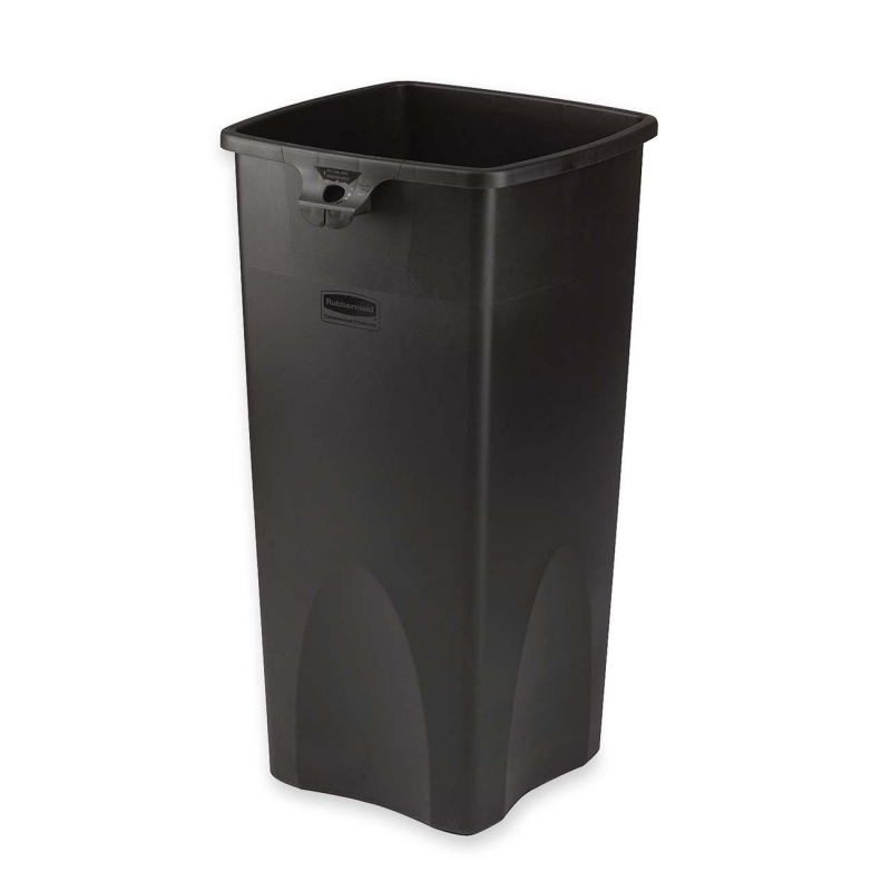 Rubbermaid Rubbermaid Black Untouchable Square Waste Container 356988BK RCP356988BK 356988