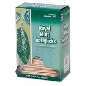 "AmerCareRoyal Mint Cello-Wrapped Wood Toothpicks, 2 1/2"", Natural, 1000/Box, 15 Boxes/Carton RPPRM115 RPP RM115"