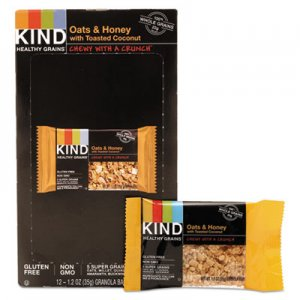 KIND Healthy Grains Bar, Oats and Honey with Toasted Coconut, 1.2 oz, 12/Box KND18080 18080