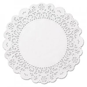 "Hoffmaster Brooklace Lace Doilies, Round, 4"", White, 2000/Carton HFMLA9042M LA904-2M"