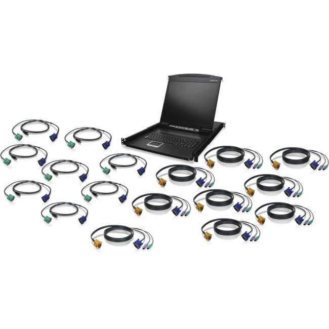 """Iogear 16-Port 19"""" LCD KVM Drawer Kit with USB KVM Cables GCL1916KITU GCL1916"""