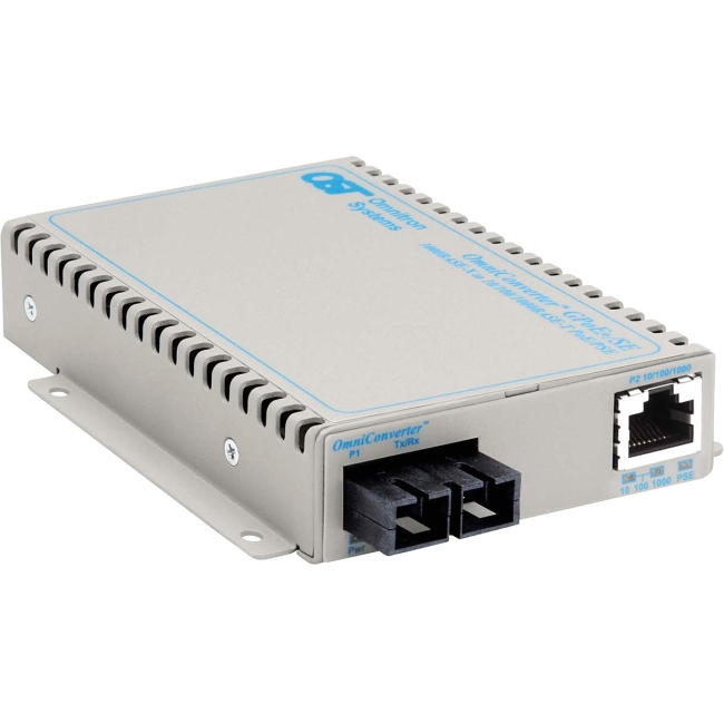 Omnitron OmniConverter GPoE+/SE PoE+ SC Single-mode 12km US AC Powered 9483-1-11 9483-1-x