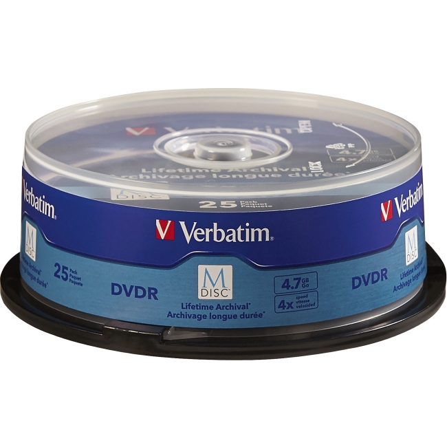 Verbatim M-Disc DVDR 4.7GB 4X with Branded Surface - 25pk Spindle 98908