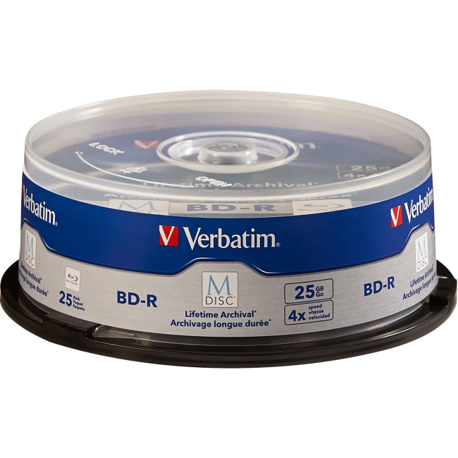 Verbatim M-Disc BD-R 25GB 4X with Branded Surface - 25pk Spindle 98909
