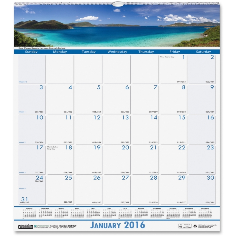 House of Doolittle Coastlines Monthly Wall Calendar 328 HOD328