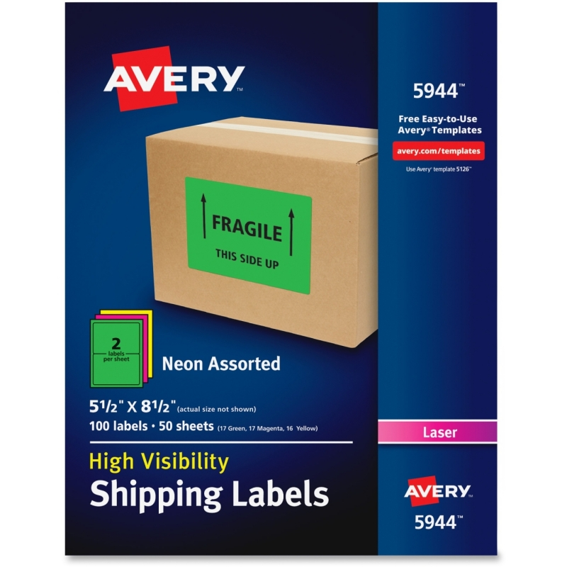 Avery High-Visibility Neon Shipping Labels 5944 AVE5944