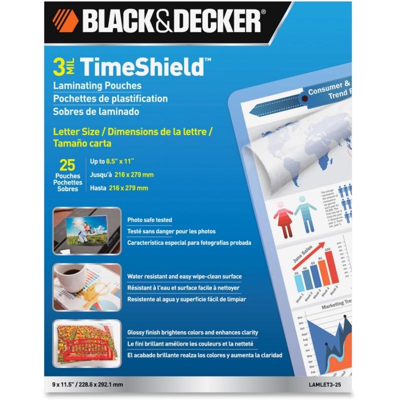 Black & Decker TimeShield Thermal Laminating Pouches, Letter LAMLET325 BOSLAMLET325